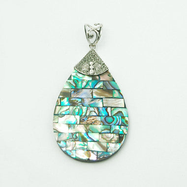 Abalone Inlay Sterling Silver Pendant