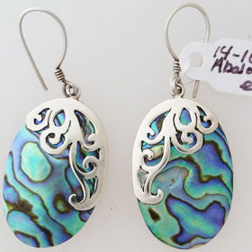 Abalone Filigree Oval Sterling Silver Earrings