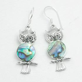 Abalone Owl Sterling Silver Earrings