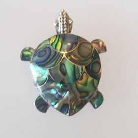 Abalone Turtle Inlay Pendant Set in Sterling Silver