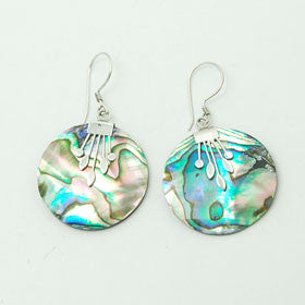 Abalone Round Disc Earrings Set in Sterling Silver