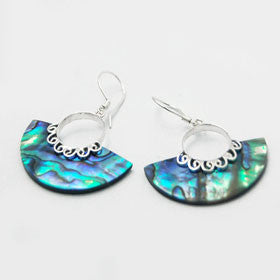Abalone Hatchet Shaped Earrings Set in Sterling Silver