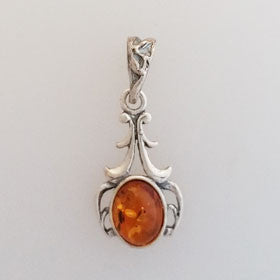Amber Artistic Pendant Set in Sterling Silver