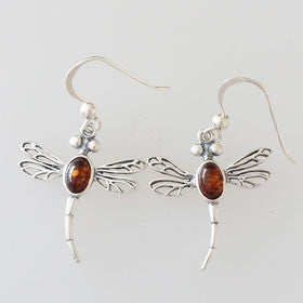 Amber Dragonfly Sterling Silver Earrings