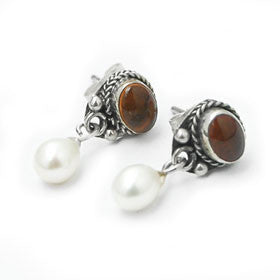 Amber and Pearl Post Earrings Set in Sterling Silver
