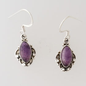 Amethyst Cabachon Sterling Silver Earrings