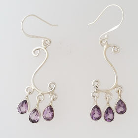 Amethyst Chandelier Earrings in Sterling Silver
