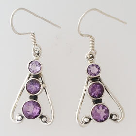 Amethyst Cut and Cabachon Sterling Silver Earrings