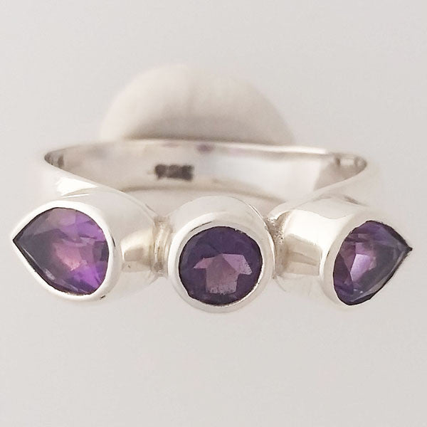 Amethyst Three Stone Sterling Silver Ring