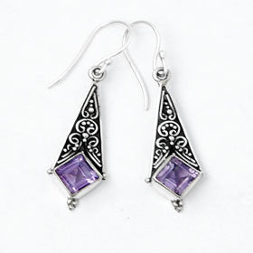 Amethyst Diamond Drop Earrings Set in Sterling Silver