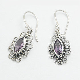 Amethyst Filigree  Earrings Set in Sterling Silver
