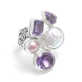 Pearl Amethyst Sterling Silver Statement Ring