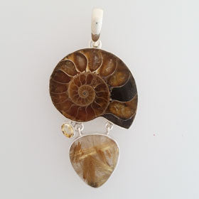 Ammonite & Citrine & Rutilated Quartz Pendant in Sterling Silver