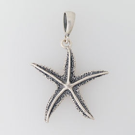 Sterling Silver Enameled Black Starfish Pendant