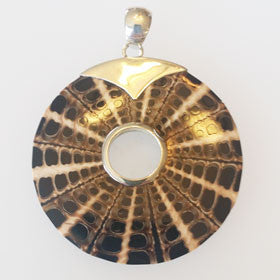 Tan & Black Shell CollagePendant Set in Sterling Silver