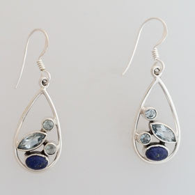 Blue Topaz & Lapis Earrings Set in Sterling Silver