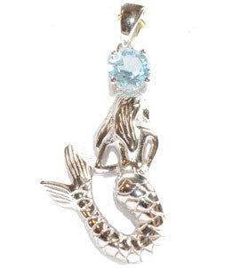 Blue Topaz Mermaid Pendant in Sterling Silver