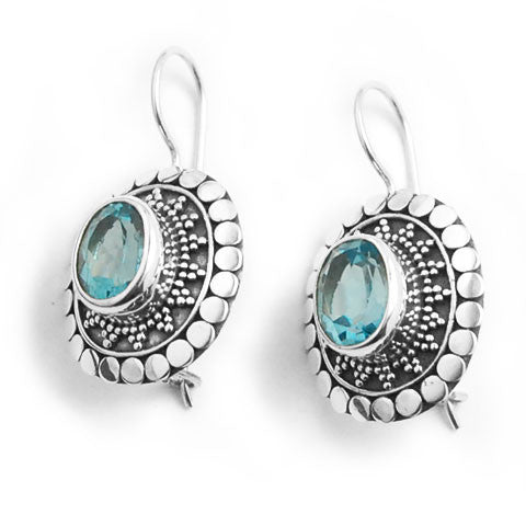 Blue Topaz Balinese Sterling Silver Earrings
