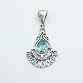Blue Topaz Sterling Silver Fan Pendant