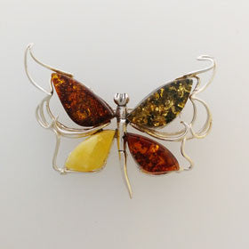 Tri-Amber Butterfly Pendant Set in Sterling Silver