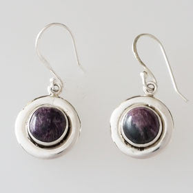 Charoite Sterling Silver Round Earrings