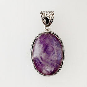 Charoite Oval Pendant set in Sterling Silver