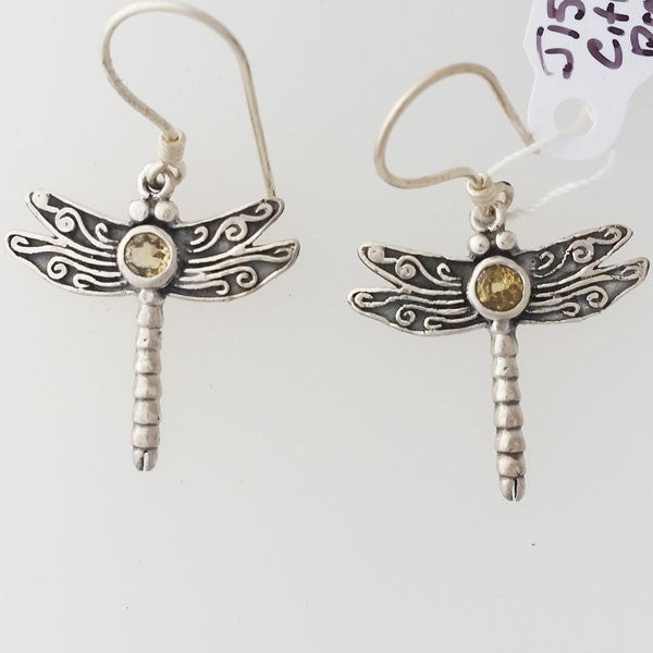 Citrine Dragonfly Sterling Silver Earrings