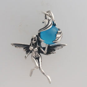 Cat's Eye Fairy Deep Sku Blue Pendant in Sterling Silver