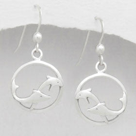 Sterling Silver Dolphin Swim Earrings