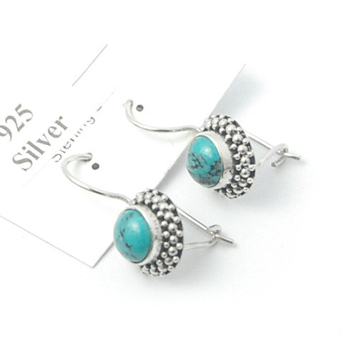 Turquoise Balinese Sterling Silver Earrings