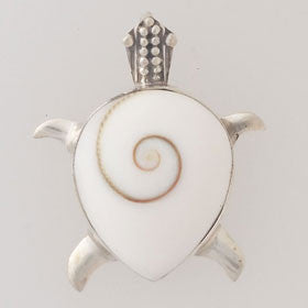 Eye of Shiva Turtle Pendant in Sterling Silver