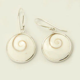 Eye of Shiva Round Sterling Silver Earrings