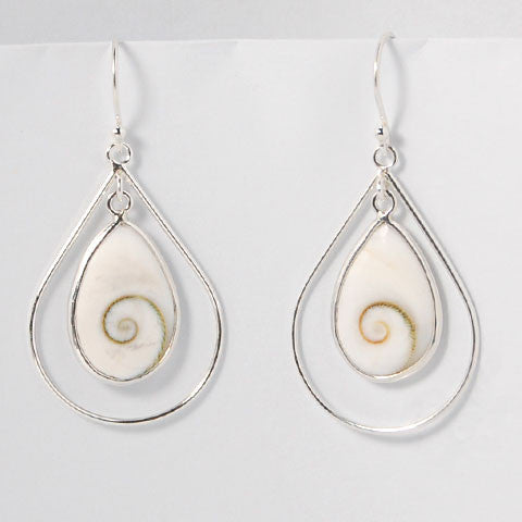 Eye of Shiva Teardrop Sterling Silver Earrings