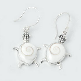 Eye of Shiva Turtle Earrings in Sterling Silver