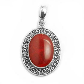 Red Coral Filigree Oval  Pendant in Sterling Silver