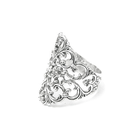 Sterling Silver Filigree Scroll Design Ring
