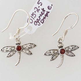Garnet Dragonfly Sterling Silver Earrings