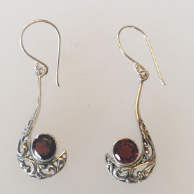 Garnet Filigree Hook Earrings Set in Sterling Silver