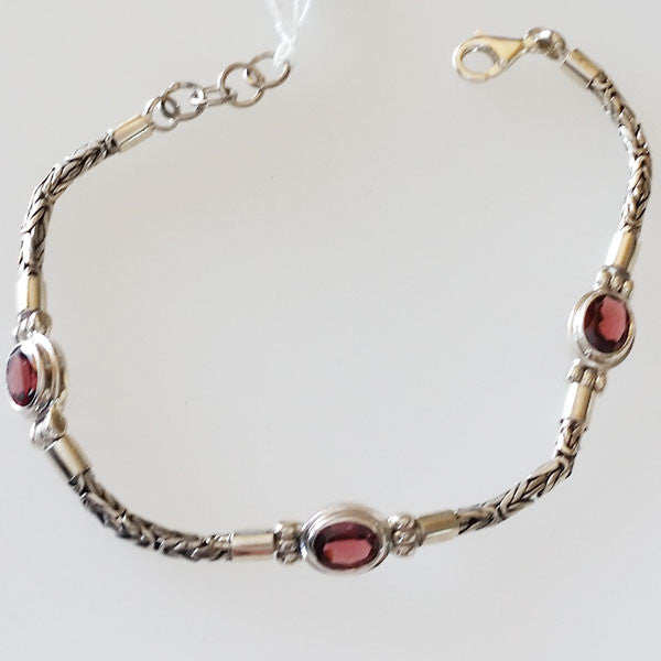 Garnet Three Stone Sterling Silver Bracelet