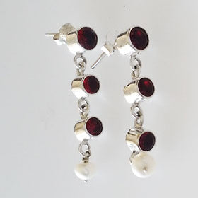 Garnet & Pearl Sterling Silver Earrings
