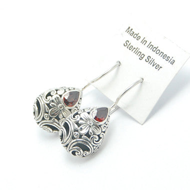 Garnet Filigree Sterling Silver Earrings