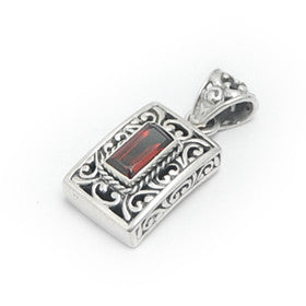 Garnet Square Filigree Sterling Silver Pendant