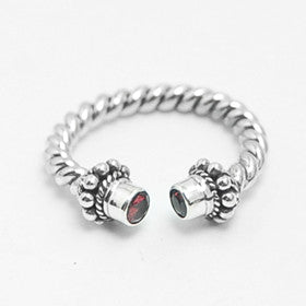Garnet Cable Ring in Sterling Silver