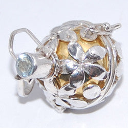 Harmony Ball with Flowers Sterling Silver Pendant