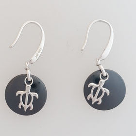 Honu Turtle & Ceramic Sterling Silver Earrings