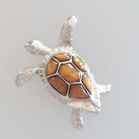 Hawaiian Koa Wood Sterling Silver Turtle Pendant Large