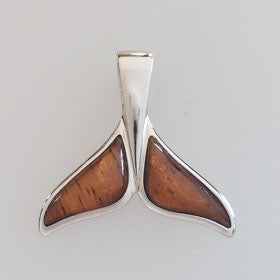 Hawaiian Koa Wood & Sterling Silver Whale Tail Pendant large