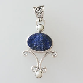Lapis Rough Druzy with Pearl Sterling Silver Sphere Pendant