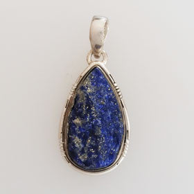 Lapis Rough Stone Sterling Silver Pendant