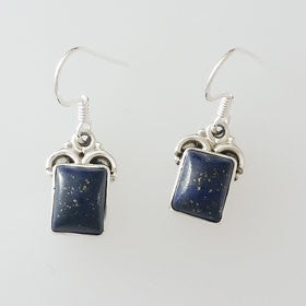 Lapis Square Sterling Silver Earrings